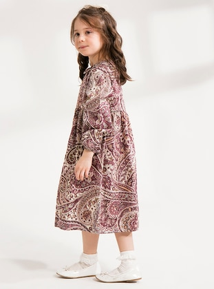 Dusty Rose - Multi - Round Collar - Cotton - Unlined - Dusty Rose - Girls` Dress