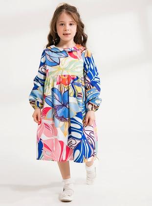 Multi - Round Collar - Cotton - Unlined - Multi - Blue - Girls` Dress - Ceylan Otantik