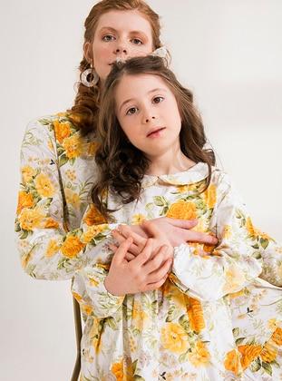 Multi - Round Collar - Cotton - Unlined - Multi - Yellow - Girls` Dress - Ceylan Otantik