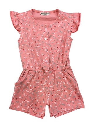Pink - Unlined - Floral - Crew neck -  - Girls` Salopettes & Jumpsuits