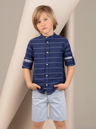 Navy Blue - Boys` Shirt - Ollie&Olla