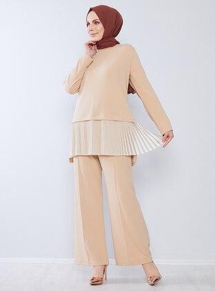 Beige - Unlined - Crepe - Suit