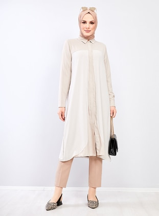 Beige - Point Collar - Crepe - Chiffon - Tunic