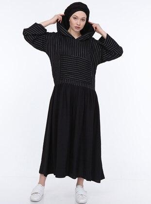 Black - Stripe - Unlined -  - Dress