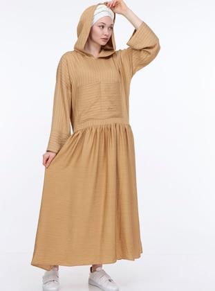 Tan - Stripe - Unlined -  - Dress