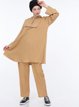Camel - Tan - Stripe - Unlined -  - Suit
