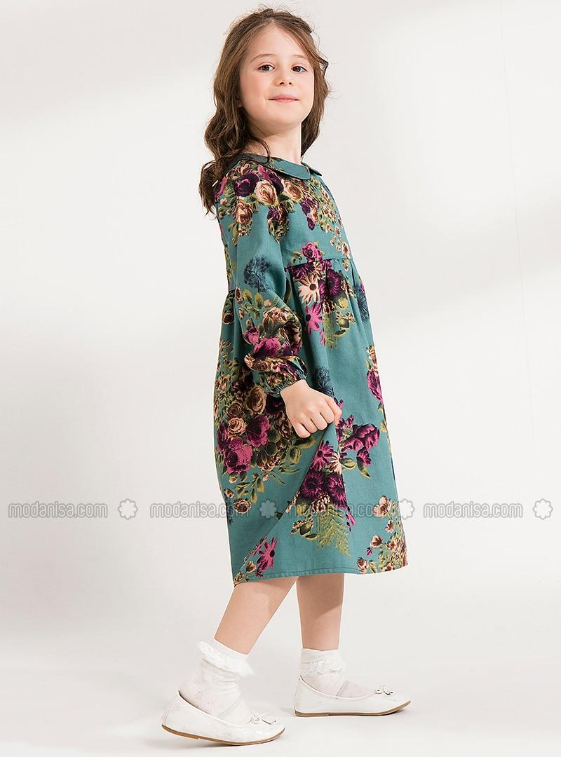 Floral - Round Collar - Cotton - Unlined - Multi - Plum - Girls` Dress