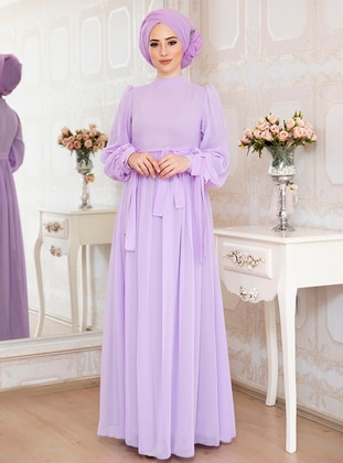 Lilac - Fully Lined - Crew neck - Chiffon - Muslim Evening Dress