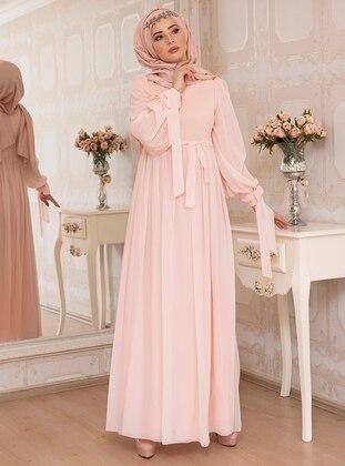 Powder - Fully Lined - Crew neck - Chiffon - Muslim Evening Dress