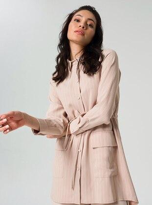 Beige - Stripe - Suit