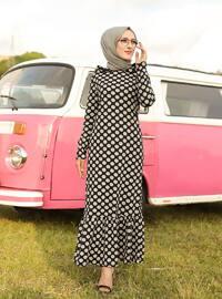 Siyah - Puantiyeli - Astarsız Kumaş - - Elbise