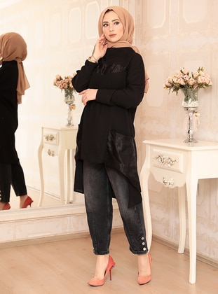 Black - Crew neck - Crepe - Tunic