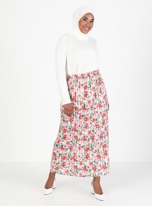 Pink - Black - Floral - Unlined - Skirt