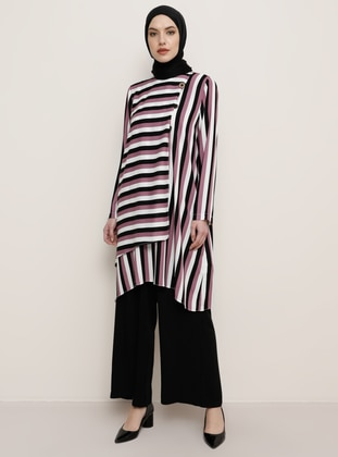 Dusty Rose - Multi - Stripe - Crew neck - Tunic