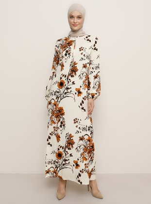 Ecru - Floral - Crew neck - Unlined - Viscose - Dress