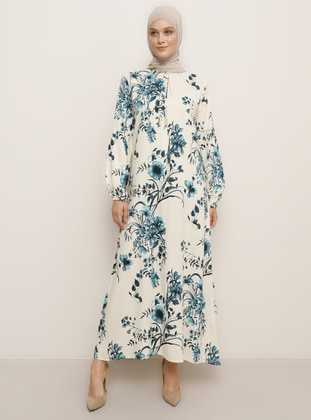 Turquoise - Floral - Crew neck - Unlined - Viscose - Dress - Tavin