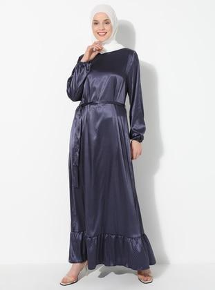 Navy Blue - Polka Dot - Crew neck - Unlined - Dress