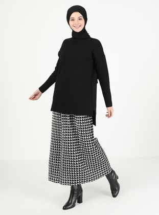 White - Black - Checkered - Unlined - Skirt