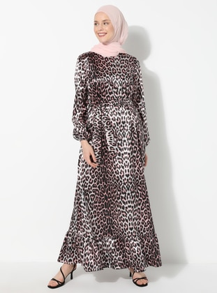 Coral - Black - Leopard - Crew neck - Unlined - Dress