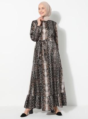 Brown - Black - Leopard - Crew neck - Unlined - Dress