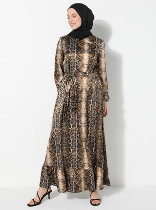 Brown - Mink - Leopard - Crew neck - Unlined - Dress