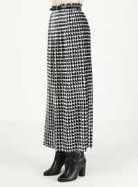 White - Black - Checkered - Unlined - Skirt