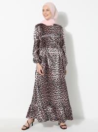 Mercan - Siyah - Leopar - Yuvarlak yakalı - Astarsız - Elbise