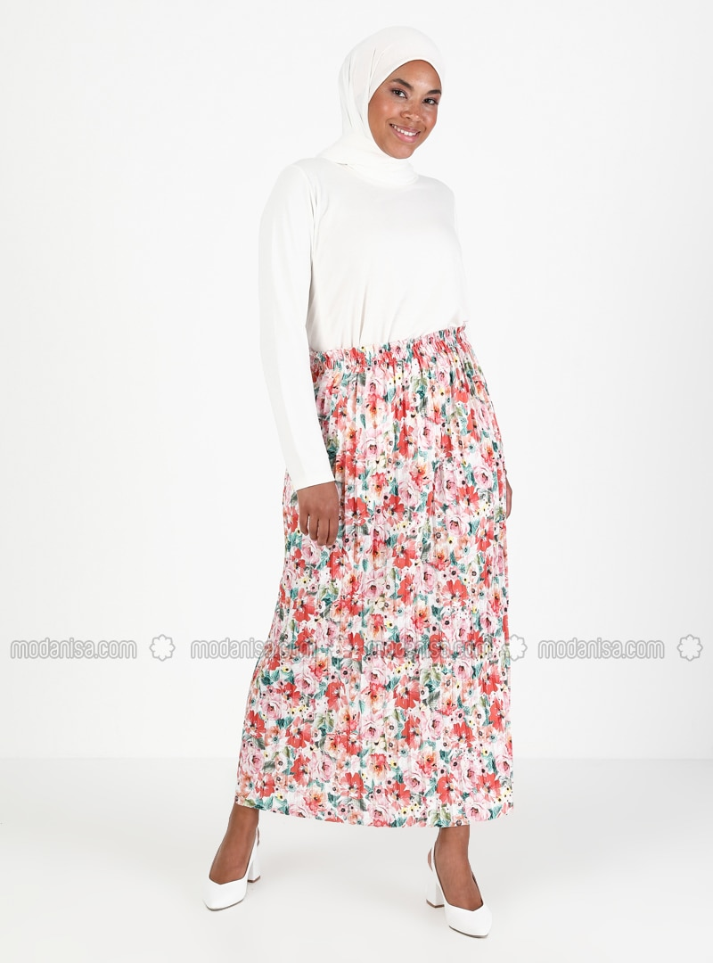 Pink - Black - Floral - Unlined - Skirt