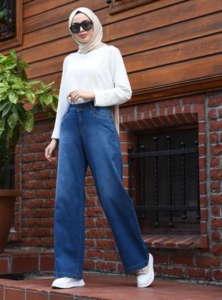 Blue - Denim -  - Pants
