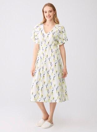 Ecru - Floral - V neck Collar - Modal -  - Nightdress