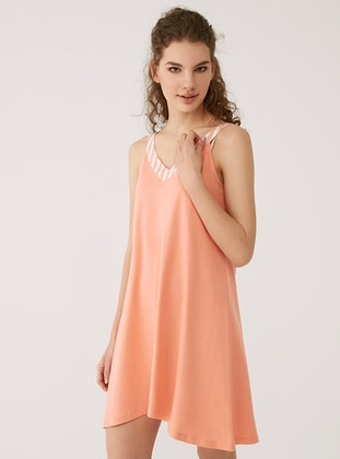 Salmon - V neck Collar - Modal -  - Nightdress