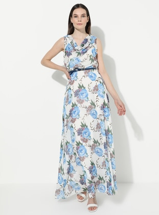 Saxe - Floral - V neck Collar - Fully Lined - Acrylic - Dress