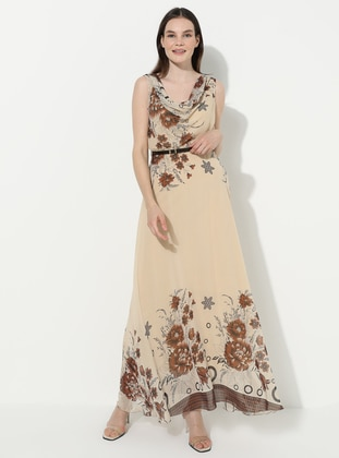 Stone - Floral - V neck Collar - Fully Lined - Acrylic - Dress