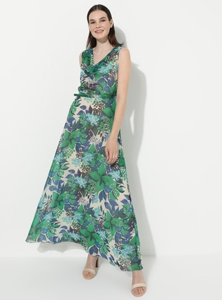 Green - Floral - V neck Collar - Fully Lined - Acrylic - Dress