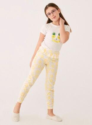 Ecru - Crew neck - Modal -  - Pyjama Set