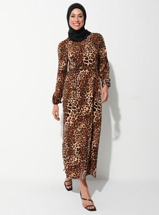 Beige - Black - Leopard - Crew neck - Unlined - Dress