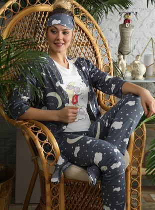 Navy Blue - Crew neck - Multi -  - Pyjama - İnşirah