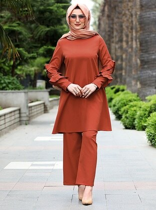 Orange - Unlined - Viscose - Suit