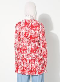 Red - Floral - Crew neck -  - Tunic