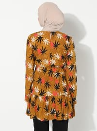 Mustard - Floral - Crew neck -  - Tunic