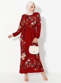 Bordo - Çiçekli - Yuvarlak yakalı - Astarsız - Elbise