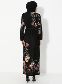 Siyah - Çiçekli - Yuvarlak yakalı - Astarsız - Elbise