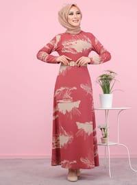 Vieux Rose - Floral - Col rond - Tissu non doublé -  - Robe
