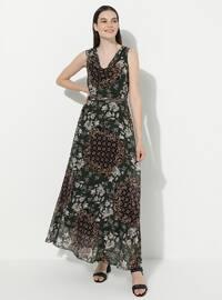Haki - Çiçek - V Yaka - Astarlı - Akrilik - Elbise