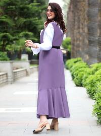 Lilac - V neck Collar - Unlined - Viscose - Dress