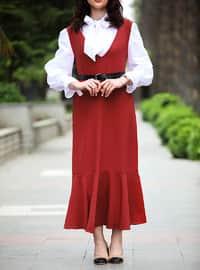 Orange - V neck Collar - Unlined - Viscose - Dress
