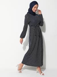 Beyaz - Lacivert - Puantiyeli - Yuvarlak yakalı - Astarsız kumaş - Elbise