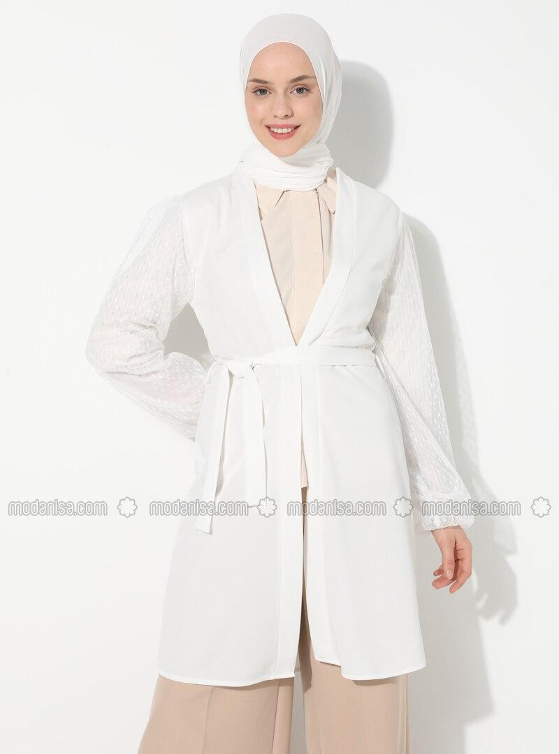 White - Unlined - V neck Collar - Topcoat