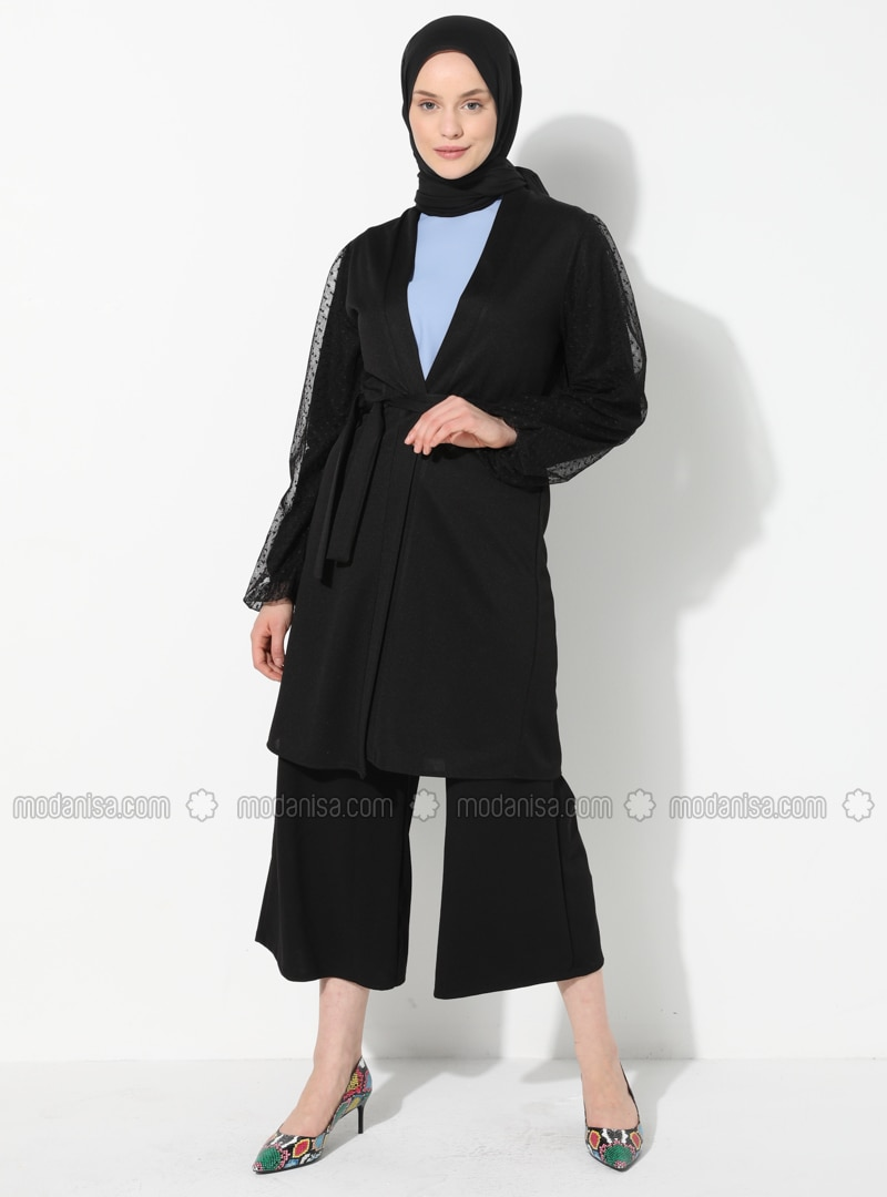 Black - Unlined - V neck Collar - Topcoat