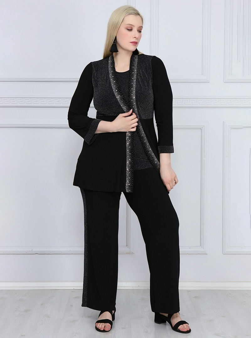 Plus Size Suit Asee`s Silver Tone / Black